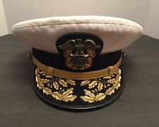 VINTAGE AUTHENTIC US NAVY REAR ADMIRAL WHITE VISOR CAP HAT