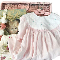 Vintage Petit Ami 18 Mo Pink Smocked Dress Big White Collar Sweet