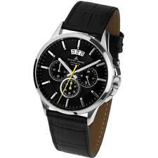 Jacques Lemans Men's 42mm Black Leather Band Steel Case Quartz Watch 1-1542A