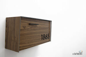 Modern Mailbox Aluminium Wood Walnut Face and Body with Black Numbers - Type 3