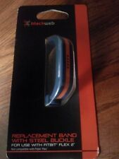 Blackweb* Adjustable Fitbit Flex 2 Buckle Band Replacement Blue+Orange Stripe