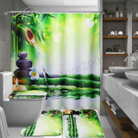 Bamboo Waterproof Bathroom Shower Curtain Toilet Cover Mat Non-Slip Rug Set