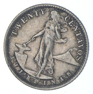 Roughly Size of Nickel 1937 Philippines 20 Centavos World Silver Coin *642