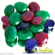 200+Ct Natural Stunning Oval Blue Sapphire Ruby & Emerald Gemstones Loos Lot qty