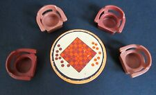 VINTAGE FISHER PRICE LITTLE PEOPLE ROUND CHECKERS GAME TABLE WITH 4 BROWN CHAIRS