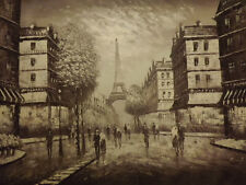 paris old street sepia huge oil painting canvas french modern cityscape art