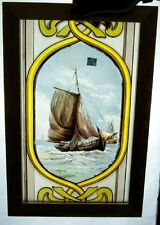 A VERY CRISP VICTORIAN SHIP PAINTED WINDOW