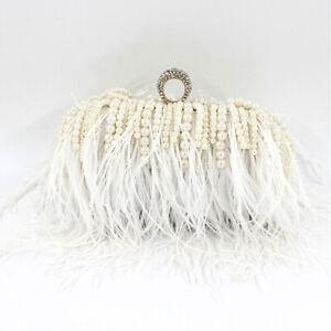 Ladies Handbag Pearl Moon Clutch Bag Wedding Purse Feather Shoulder Bag Luxury