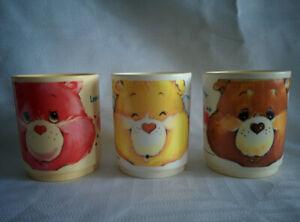 Lot 3 Vintage 1986 CARE BEAR Plastic Deka FACE MUG CUP Tenderheart Love Funshine