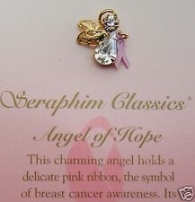 "GUARDIAN ANGEL Breast Cancer Pink Ribbon Crystal Pin ""ANGEL OF HOPE"" New"
