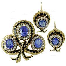 Magnificent 1900s Victorian Sapphire Diamond Enamel 18k Gold Jewelry Suite GIA