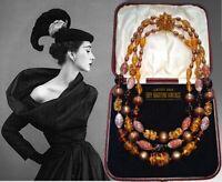 VINTAGE 1950s DECO VENETIAN GOLD FOIL BEADS TRIPLE STRAND NECKLACE AUTUMN COLOUR