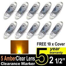 10X Clear Amber Truck Trailer Side Marker Clearance Light Oval Chrome 3 LED 12V