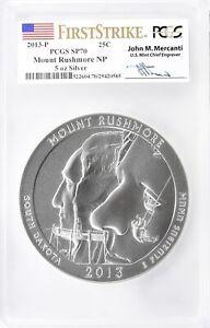 2013-P Mount Rushmore 5oz Silver ATB PCGS SP70 First Strike John Mercanti Signed