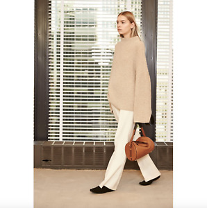 New $2290 The Row Kaila Silk Cotton Sweater in Camel/Beige sz XS