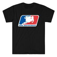 AMA Motorcross Racing Logo Men's Black T-Shirt Size S to 3XL