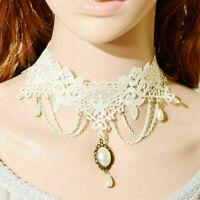 Retro Women Pendant Chain Lace Necklace Victorian Collar Choker Black Gothic