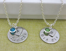 Personalised Big Sis Lil Sis Set of 2 Birthstone & Initial Necklaces Gift Boxed