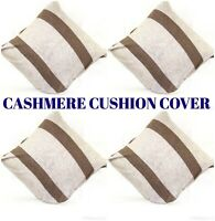 Cashmere Cushion cover Pillow Cases Brown Stripes on Light Grey White Buttoned