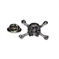 Skull & Crossbones Pewter LAPEL PIN Rock Biker Club Cap Badge Birthday Present