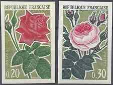 FRANCE ROSES N°1356/1357 TIMBRE NON DENTELÉ IMPERF 1962 NEUF * MH