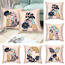 A-Z Pink Letter Alphabet Flower Printed Cushion Cover Pillowcase Sofa Home Decor