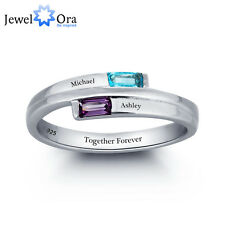 Custom Personalized Engrave Name DIY Birthstone Love Ring 925 Sterling Silver