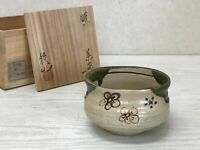 Y1652 CHAWAN Oribe-ware signed box Japanese bowl pottery Japan tea ceremony