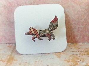 Fox Wood Brooch, Mini animal brooch, nature gift, wooden jewellery Orange Geo