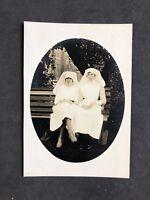 Vintage BW Real Photo #CS: c1920s: VAD? Nurses Outside Hospital? On Bench
