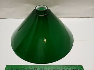 """Mouth Blown Cone Glass Lamp Shade CW Vianne Made in France Green Cased 14"""""""