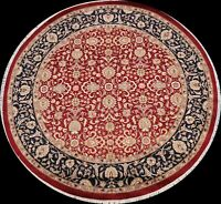 Wool/ Silk Floral Royal-Tebriz Oriental Area Rug Hand-knotted Round Carpet 7'x7'