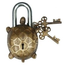 Antique Style Tortoise Type Padlock Lock With Key Brass Made