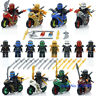 8PCS/LOT NINJA motorcycle Set Kai Jay Cole Zane Nya Lloyd With Weapon Fit Lego