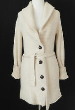 J.Crew Sweatercoat Ivory Alpaca Wool Belted Shawl Collar 4 Buttons Size XS/S