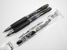 (2 pens + 5 refills Pack) UNI-BALL 207 0.5mm Extra Fine roller ball pen, Black