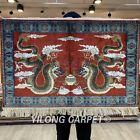 YILONG 2'x3' Dragon Handmade Silk Area Rug Classic Family Room Carpet TJ136A
