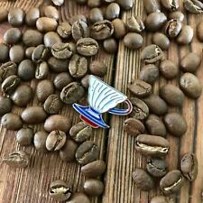 Red Blue White Barista Coffee Geek V60 Dripper Pour Over Cone Pin Brooch Badge