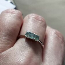 ULTRA Rare 100% Natural Alexandrite 3 Stone Ring Sterling Silver 0.60cts