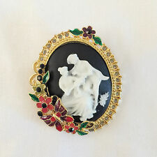 New Clear Crystal Love Couple Black Cameo Pendant Charm Brooch Pin Gift BR1354
