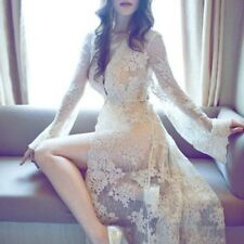 Female Nightie Woman Sex Clothes Bathrobe High Quality Lace Robe Long Night Wear