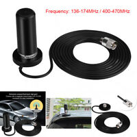 Dual Band 400-470MHZ VHF UHF Mobile Radio Antenna with SMA Magnetic Base Cable