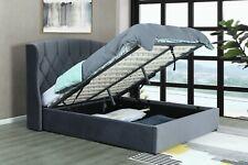 Kingsize 5ft Grey velvet Storage ottoman bed Frame with LED LIGHTS
