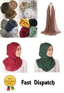 Ladies Maxi Long Crinkle Scarf Hijab Frayed Edges Crimp Mix Cotton Shawl Wrap
