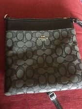 COACH SIGNATURE CROSSBODY/MESSENGER BAG ~BLACK~ {C} LOGO WITH COACH CARDHOLDER