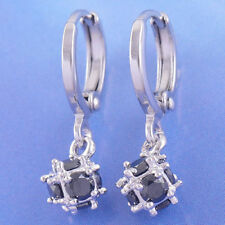New 14K White Gold Filled Sapphire Blue CZ Cubic (Magic) Ball Dangle Earrings