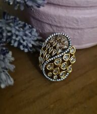 Indian Pakistani jewellery AD polki kundan Ring adjustable bridal gold
