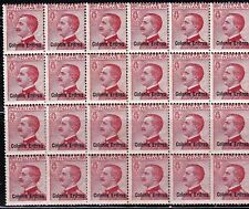 ERITREA - ITALIAN COLONIES - SCOTT 44 - RARE MNH BLOCK OF 24 - LOOK!