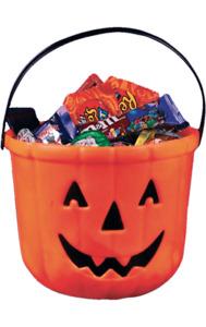 Orange Halloween Trick or Treat Pumpkin Bucket With Handle Loot Bag