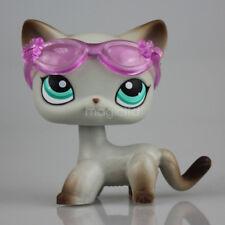 Rare Littlest Pet Shop Cat LPS Short Hair Egyptian Grey Blue Eyes Animal #391